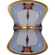 Coiffe Limoges Arts & Crafts Butterfly Design Porcelain Basket/Handled Tray (c.1910-1925)