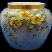 """Favorite Bavaria Arts & Crafts Yellow Wild Rose Motif Vase (Signed """"F. Benson""""/c.1910-1940)"""