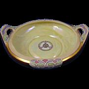 "Moritz Zdekauer (MZ) Austria Arts & Crafts Lustre Handled Dish (Signed ""FEH""/c.1910-1940)"