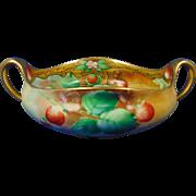 """Pickard Studios Tressemann & Vogt (T&V) Limoges Strawberry Design Bowl (Signed """"Yeschek""""/c.1903-1905)"""