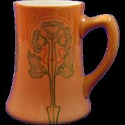 Jean Pouyat (JP) Limoges Arts & Crafts Floral Design Tankard/Mug (Signed/c.1910-1930)