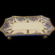 """Limoges """"Mark 6"""" Arts & Crafts Floral Design Footed Trinket Tray (Signed """"Cockerton""""/c.1910-1940)"""