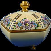 """Limoges """"Mark 6"""" Arts & Crafts Floral Design Covered Dish (Signed """"Cockerton""""/c.1910-1940)"""
