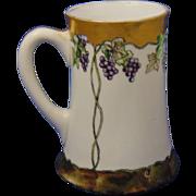 """Tressemann & Vogt (T&V) Limoges Arts & Crafts Grapes Motif Tankard (Signed """"Jenn Irvin""""/Dated 1907)"""