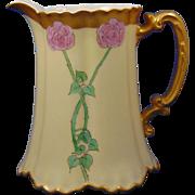"""Haviland Limoges Arts & Crafts Rose Motif Pitcher (Signed """"S.L.C.""""/c.1910-1930)"""