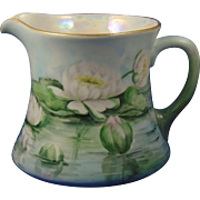 "William Guerin (WG & Co.) Limoges Arts & Crafts Waterlily/Lotus Design Pitcher (Signed ""Kirby""/c.1900-1932)"