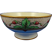 "Tressemann & Vogt (T&V) Limoges Arts & Crafts Strawberry Design Bowl (Signed ""Bess""/c.1910-1930)"