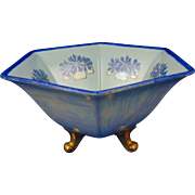 "Bernardaud & Co. (B&CO.) Limoges Arts & Crafts Cornflower Design Footed Bowl (Signed ""Palissard""/Dated 1916)"