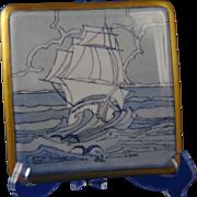 Paul Mueller (PM) Bavaria Arts & Crafts Ship/Nautical Design Trivet/Tile (c.1914-1930) - Keramic Studio Design