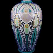 """Lenox Belleek Art Deco Enameled Peacock Design Vase (Signed """"C.B. Little""""/c.1906-1924)"""