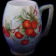 "Bavaria Arts & Crafts Cherry Motif Tankard (Signed ""L.S. Fluckey""/c.1910-1930)"