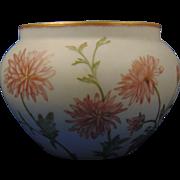 """Delinieres & Co. (D&Co.) Limoges Chrysanthemum & Butterfly Design Jardinière/Vase (Signed """"M.R.S.""""/c.1879-1893)"""