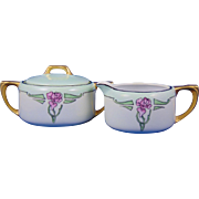 "Reinhold Schlegelmilch (RS) Silesia Arts & Crafts Rose Motif Creamer & Sugar Set (Signed ""A.E. Sager""/c.1910-1938)"