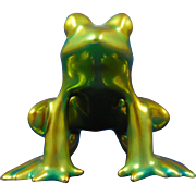 Zsolnay Hungary Eosin Green Frog Figurine