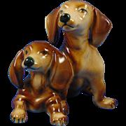 Zsolnay Hungary Dachshund Puppies Figurine (c.1930-1950)