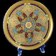 Porcelain Blank Enameled Floral Design Footed Plate (Signed/c.1910-1930)