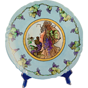 "Porcelain Blank Arts & Crafts ""Privat Livemont Grape Lady"" Design Plate (Signed ""M.R.R.""/c.1900-1940) - Keramic Studio Design"