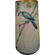 PH Leonard Austria Arts & Crafts Bird & Flowers Motif Vase (c.1890-1920)