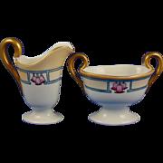 Buchanan Studio Indianapolis Moritz Zdekauer (MZ) Austria Art Deco Floral Design Creamer & Sugar (Signed/c.1910-1930) - Keramic Studio Design