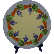 "Bavaria Arts & Crafts Grapes & Vine Motif Plate (Signed ""Ruth McKesson""/Dated 1917)"