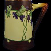 "Delinieres & Co. (D&Co.) Limoges Arts & Crafts Grape Motif Tankard (Signed ""MG""/c.1906-1930) - Keramic Studio Design"