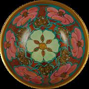 """Haviland Limoges Arts & Crafts Floral Motif Footed Bowl (Signed """"C. Collester""""/c.1901-1931)"""