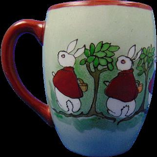 "Tressemann & Vogt (T&V) Limoges Arts & Crafts ""Peter Rabbit"" Motif Mug/Cup (Signed ""For Junior. A Merry Xmas, From Aunt Zula 1915"")"