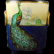 """William Guerin (WG&Co.) Limoges Peacock & Landscape Design Footed Vase/Cachepot (Signed """"D. Richardson""""/c.1900-1932)"""
