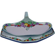 "Tressemann & Vogt (T&V) Limoges Arts & Crafts Fruit Motif Serving Tray/Dish (Signed ""ECS""/c.1900-1930)"