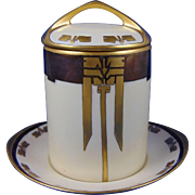 "Rosenthal Donatello Bavaria Art Deco Copper Lustre Condensed Milk Container Set (Signed ""E.A. Tubbs""/Dated 1910)"