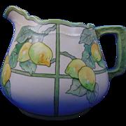 "Oscar & Edgar Gutherz (O&EG) Austria Arts & Crafts Lemon Motif Cider/Lemonade Pitcher (Signed ""A. McCaslin""/c.1899-1930)"