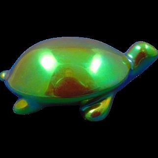 Zsolnay Hungary Eosin Green Turtle Figurine