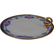 "Thomas Bavaria Arts & Crafts Enameled Floral Motif Handled Lemon Server/Nappy/Trinket Dish (Signed ""E.B. Merrill""/c.1910-1930)"