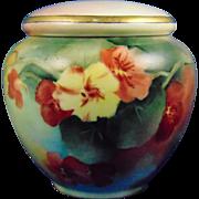 "Gerard, Duffraisseix & Abbott (GDA) Limoges Arts & Crafts Nasturtium Motif Covered Jar (Signed ""MR""/c.1915-1941)"