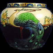 "Epiag Czechoslovakia Arts & Crafts Peacock & Fruit Motif Vase (Signed ""E. Cook""/Dated 1924)"