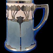 "William Guerin & Co. (WG&Co.) Limoges Arts & Crafts Platinum Organic Design Tankard/Mug (Signed ""M.W.""/c.1910-1930)"