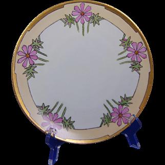 "Fischer & Mieg Pirkenhammer Bavaria Floral Motif Plate (Signed ""Blanche Banta Ramsey""/c.1905-1918)"