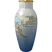 "Heinrich & Co. (H&Co.) Bavaria Arts & Crafts Crane Motif Vase (Signed ""C. Gauger""/c.1910-1930)"