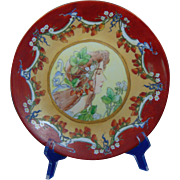 "Delinieres & Co. (D&Co.) Limoges ""Privat Livemont Strawberry Woman"" Motif Plate (Signed ""Hauser""/Dated 1905) - Keramic Studio Design"