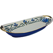 "Krister Porcelain Manufactory (KPM) Germany Arts & Crafts Cornflower Motif Serving Dish (Signed ""T. Thomas""/Dated 1916) - Keramic Studio Design"