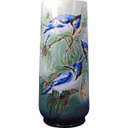 "Bernardaud & Co. (B&Co.) Limoges Arts & Crafts Blue Jay Motif Vase (Signed ""D.S.""/Dated 1920)"