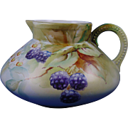 Jean Pouyat (JP) Limoges Blackberry Motif Pitcher (c.1890-1932)