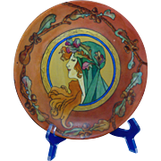 "Bavaria ""Privat Livemont Autumn Woman"" Design Plate (Signed ""B. Boss""/Dated 1918)"