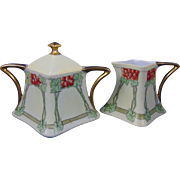"Favorite Bavaria Arts & Crafts Berry Motif Creamer & Sugar Set (Signed ""M.A. Soule'""/c.1910-1935)"