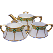 Jaeger & Co. (JC) Bavaria Arts & Crafts Geometric Design Teapot, Creamer & Sugar Set (c.1902-1935)