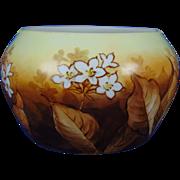 """Porcelain Limoges (PL) Arts & Crafts Floral Motif Vase (Signed """"Burnside""""/c. 1905-1935)"""