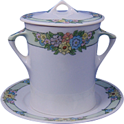 """Hutschenreuther Selb Bavaria Arts & Crafts Floral Motif Condensed Milk Container Set (Signed """"M.E. Murphy""""/c.1910-1930)"""