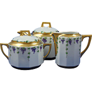Carl Tielsch (CT) Altwasser Silesia Grape Vine Motif Teapot, Creamer & Sugar Set (c.1910-1930)