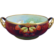 "Julius H. Brauer Studios HC Royal Bavaria Strawberry Design Centerpiece Bowl (Signed ""A. Rold""/c.1910-1916)"