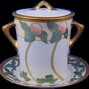 "Hutschenreuther Selb Bavaria Arts & Crafts Clover Motif Condensed Milk Container Set (Signed ""Nagle""/c.1911-1930) - Keramic Studio Design"